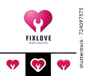 repair or fix love heart vector ... | Shutterstock .eps vector #724097575