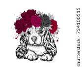 a beautiful dog in a wreath of...   Shutterstock .eps vector #724100515