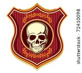 Illustrated crest with human skull. Vector illustration. - stock vector
