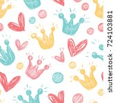 seamless background with hearts ... | Shutterstock .eps vector #724103881