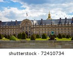 The Ecole Militaire is a vast complex of buildings housing various military training facilities. It was founded by Louis XV in 1750. - stock photo