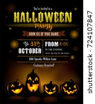 halloween party invitation with ... | Shutterstock .eps vector #724107847