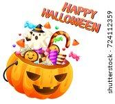sweet with pumpkin basket on... | Shutterstock .eps vector #724112359