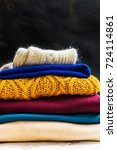 stack of colorful warm autumn... | Shutterstock . vector #724114861