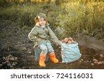 the children on the harvest of... | Shutterstock . vector #724116031