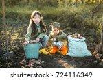 the children on the harvest of... | Shutterstock . vector #724116349