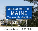 State Sign Maine At The Highway ...