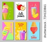 banner set of cute sweet summer ... | Shutterstock .eps vector #724123861