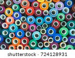 colored spools of thread | Shutterstock . vector #724128931