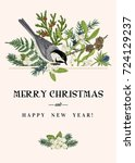 christmas greeting card with a... | Shutterstock .eps vector #724129237