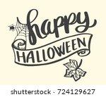 happy halloween banner vector...   Shutterstock .eps vector #724129627