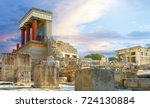 knossos palace at crete  greece ... | Shutterstock . vector #724130884