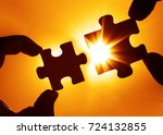 two hands trying to connect... | Shutterstock . vector #724132855