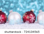 christmas tree decorations on... | Shutterstock . vector #724134565