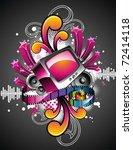 vector illustration on a media... | Shutterstock .eps vector #72414118