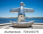 Small photo of Perth, Western Australia, November 2016: First contact bird art sculpture near Elizabeth Quay and Swan river waterfront