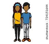 young couple cartoon | Shutterstock .eps vector #724151644