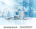 graph coins stock finance and... | Shutterstock . vector #724159537