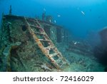 Ladder leading to the bow deck of the shipwreck SS Thistlegorm, underneath is the rope room. SS Thistlegorm, Straights of Gubal, Red Sea, Egypt. - stock photo