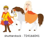 vector beautiful prince and... | Shutterstock .eps vector #724166041