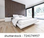 modern bright bed room ... | Shutterstock . vector #724174957