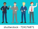 cartoon business man on the... | Shutterstock .eps vector #724176871