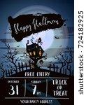 happy halloween party banner... | Shutterstock .eps vector #724182925
