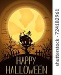 happy halloween party banner...   Shutterstock .eps vector #724182961