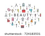 many beauty tool and... | Shutterstock .eps vector #724183531