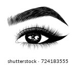 hand drawn woman's fresh makeup ... | Shutterstock .eps vector #724183555