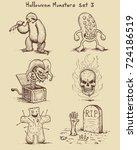 hand drawn monster doodles in... | Shutterstock .eps vector #724186519