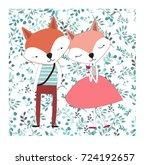 cute dog character animal fox... | Shutterstock .eps vector #724192657