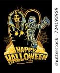 halloween design mummy out from ... | Shutterstock .eps vector #724192939