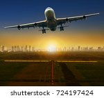 jet plane taking off from... | Shutterstock . vector #724197424
