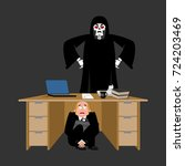 businessman scared under table... | Shutterstock .eps vector #724203469