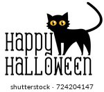 Stock vector black cat isolated on white background 724204147