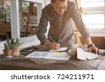 asian graphic or interior... | Shutterstock . vector #724211971