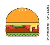 burger illustration. hamburger... | Shutterstock .eps vector #724213261