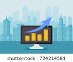 revenue growth increasing graph.... | Shutterstock .eps vector #724214581