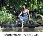 a beautiful half caste lady in... | Shutterstock . vector #724218931