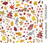 seamless autumn pattern vector... | Shutterstock .eps vector #724221667
