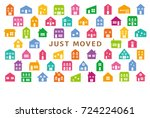 house moving greeting card. | Shutterstock .eps vector #724224061