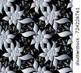 floral seamless pattern. black... | Shutterstock .eps vector #724226761