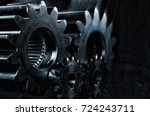 large gears and cogs  titanium... | Shutterstock . vector #724243711