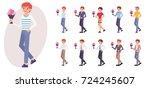 cartoon character design male... | Shutterstock .eps vector #724245607