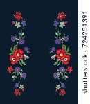 reflect flowers embroidery...   Shutterstock .eps vector #724251391