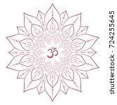 mandala frame with om symbol.... | Shutterstock .eps vector #724255645