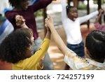 group of diverse kindergarten... | Shutterstock . vector #724257199