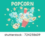 popcorn on the clouds. airy... | Shutterstock .eps vector #724258609