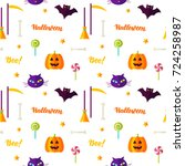 happy halloween print seamless... | Shutterstock .eps vector #724258987